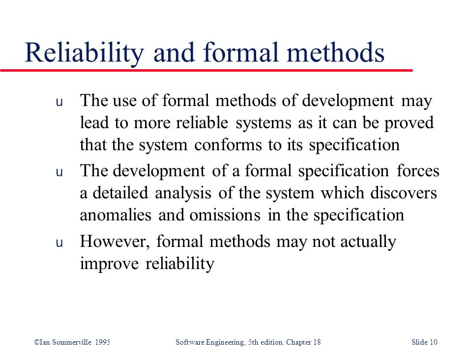 Reliability and formal methods