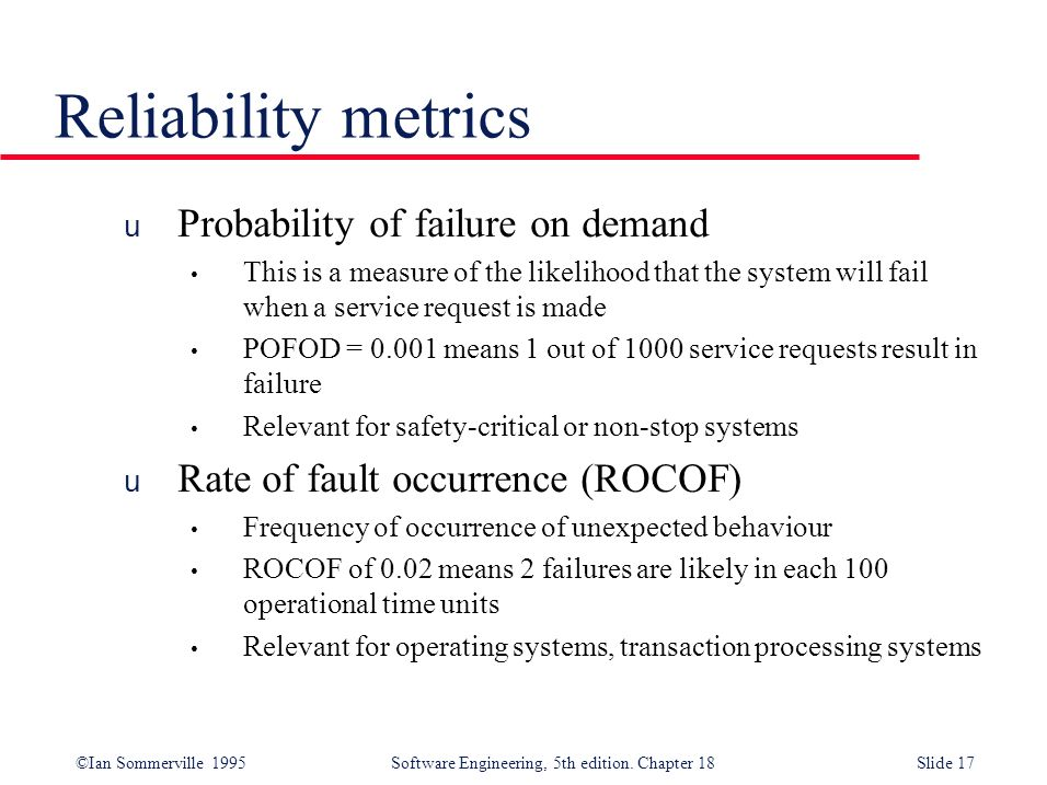 Reliability metrics Probability of failure on demand