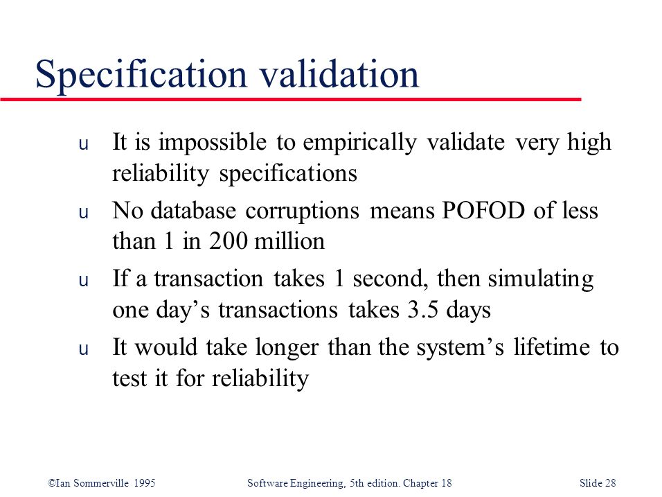Specification validation
