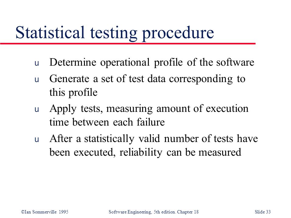 Statistical testing procedure
