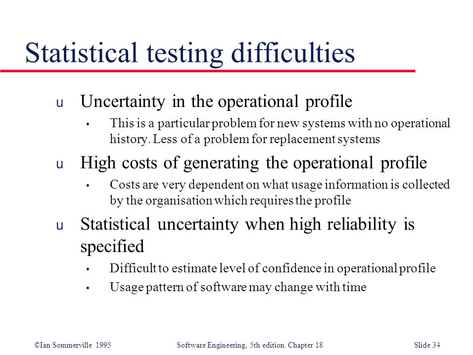 Statistical testing difficulties