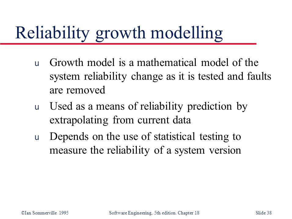 Reliability growth modelling