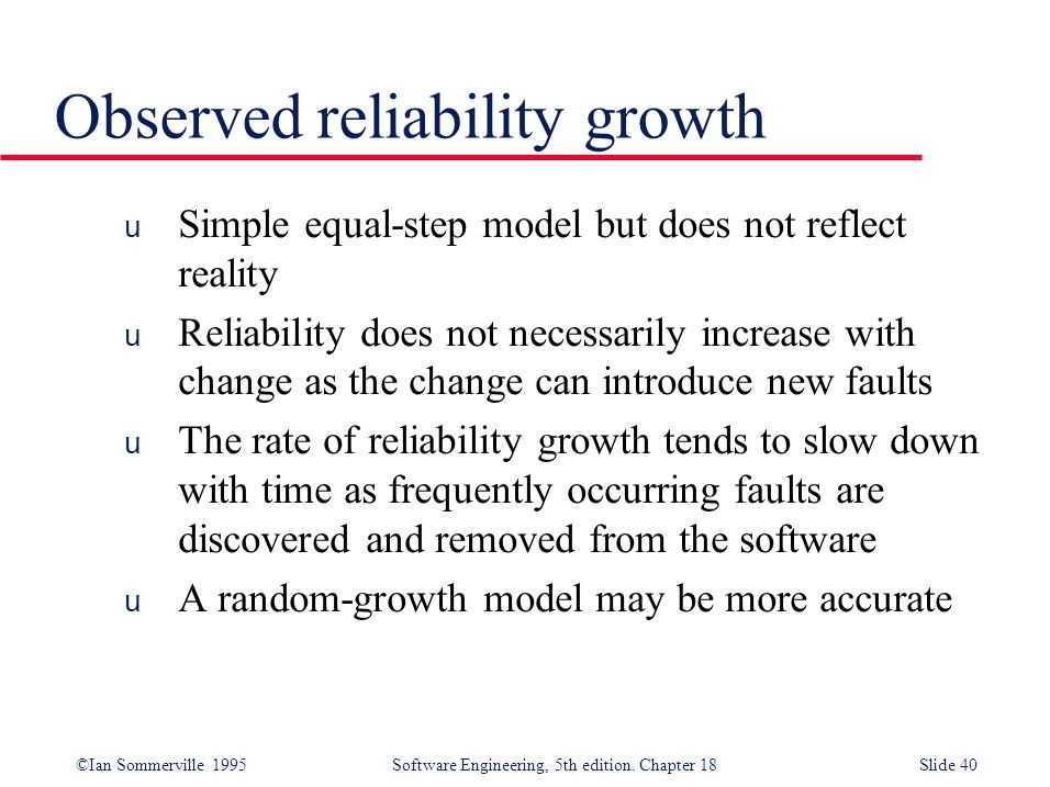 Observed reliability growth