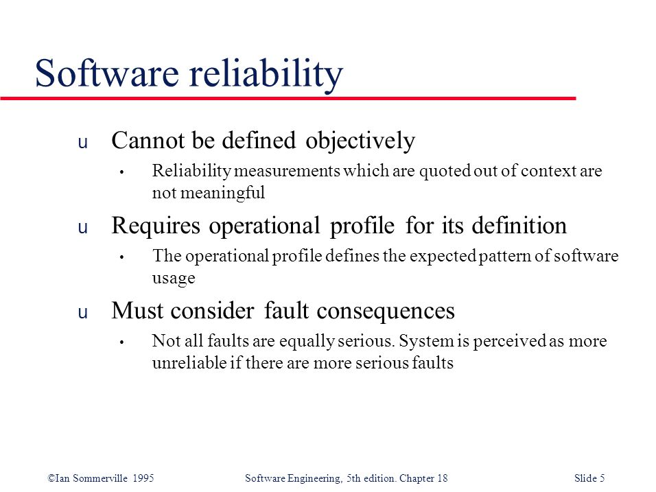 Software reliability Cannot be defined objectively