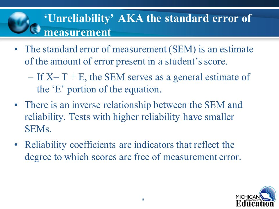 what is the relationship between a standard error of measurement and reliability coefficient