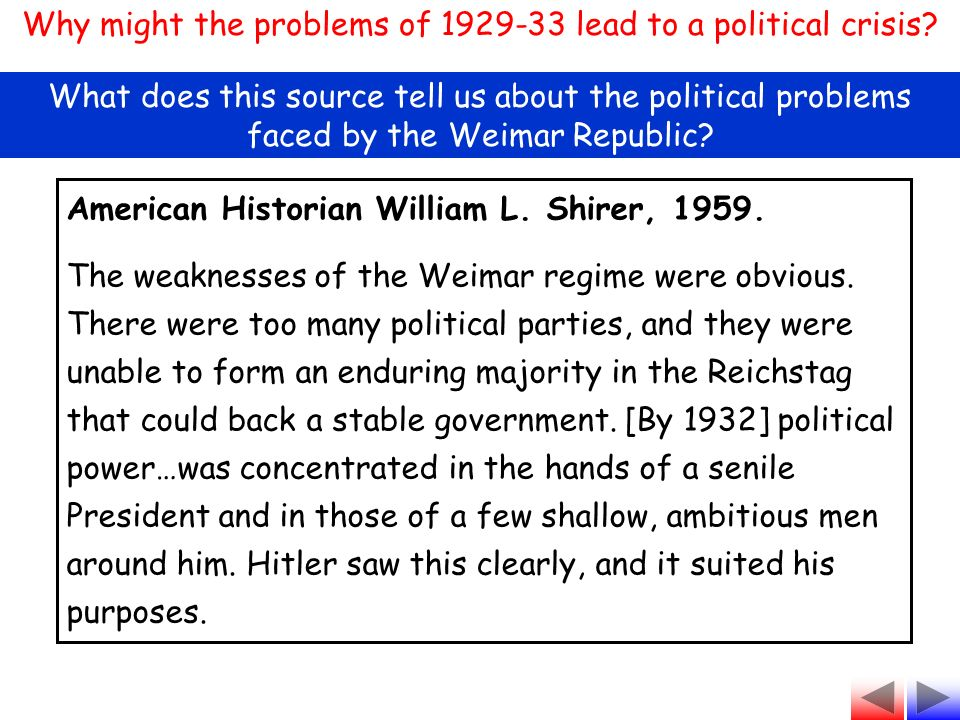 weimar republic overcome problems by 1929 This weimar republic timeline includes significant political, economic and social events in germany, from 1929 to 1933 written by alpha history authors 1929 june 7th: the young plan is accepted by germany.