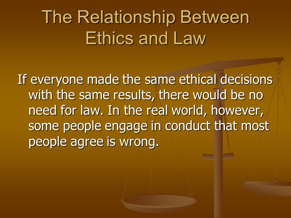 what is the relationship of law and ethics