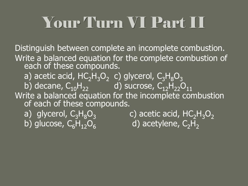 Combustion of Hydrocarbons Chemistry Tutorial