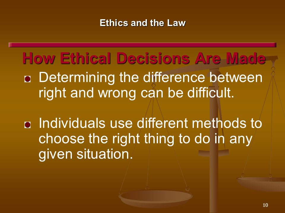 criminal ethics determining right from wrong Ethics and professional behavior are an important part of criminal justice administration ethics is referred to as what is right or wrong and your moral principles.