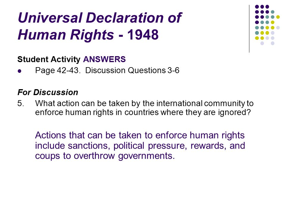 CLU3M - Law Unit 2 Dev. of Rights and Freedoms continued ... Universal Declaration Of Human Rights 1948