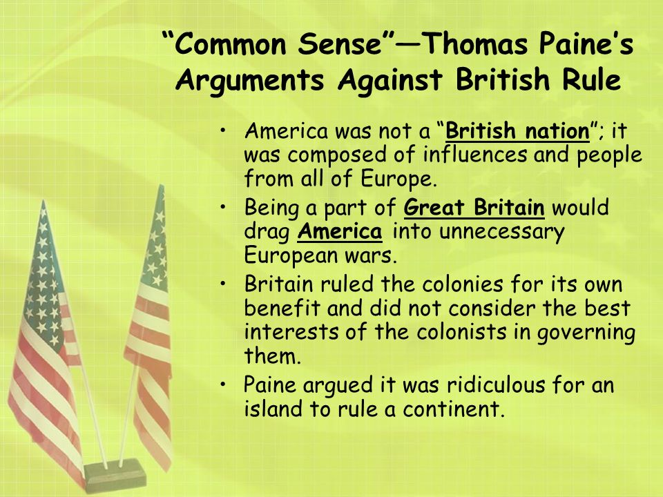 an analysis of the american revolution in common sense by thomas paine Critique of common sense by thomas paine common sense, written by thomas paine had a great influence over thomas paine defines the american revolution.