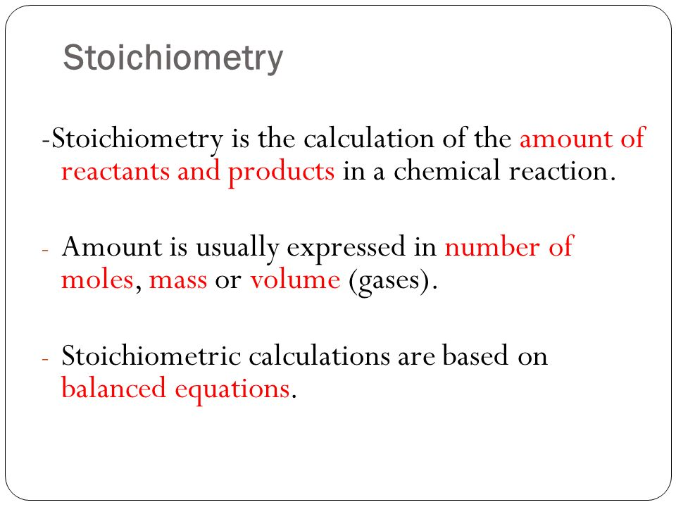 Stoichiometry reaction
