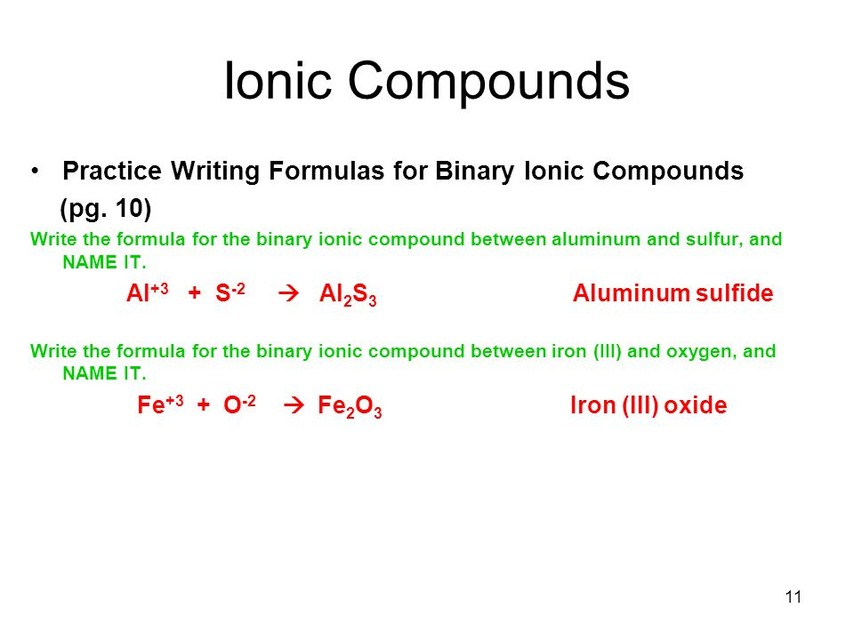 Formula Writing And Naming Compounds