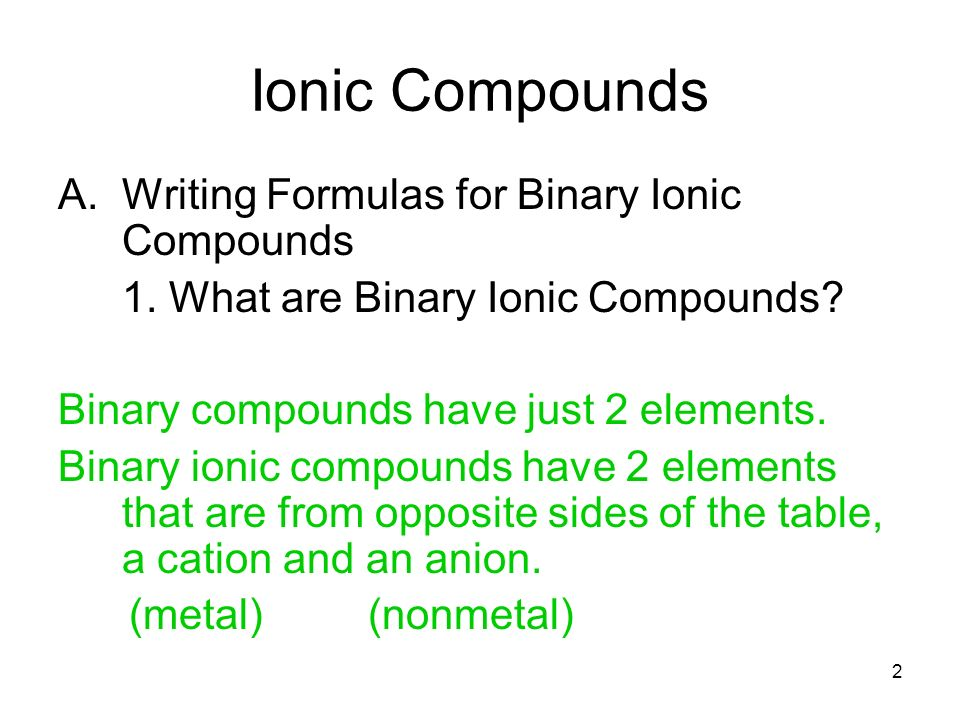 writing ionic formulas This is a collection of ten chemistry test questions dealing with naming ionic compounds and predicting the chemical formula from the compound name.