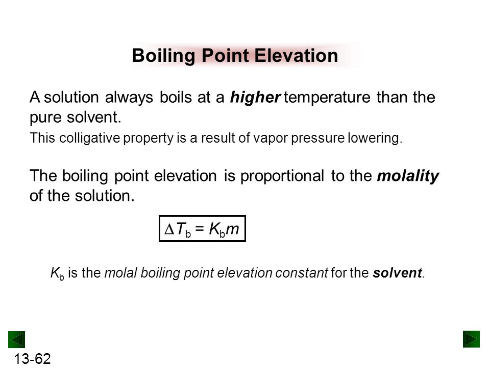 boiling point elevation This example problem demonstrates how to calculate boiling point elevation from adding salt to water.