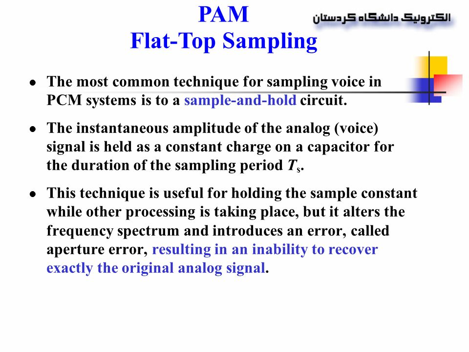 3. Pulse Modulation Uses the sampling rate PAM PDM, PWM ...