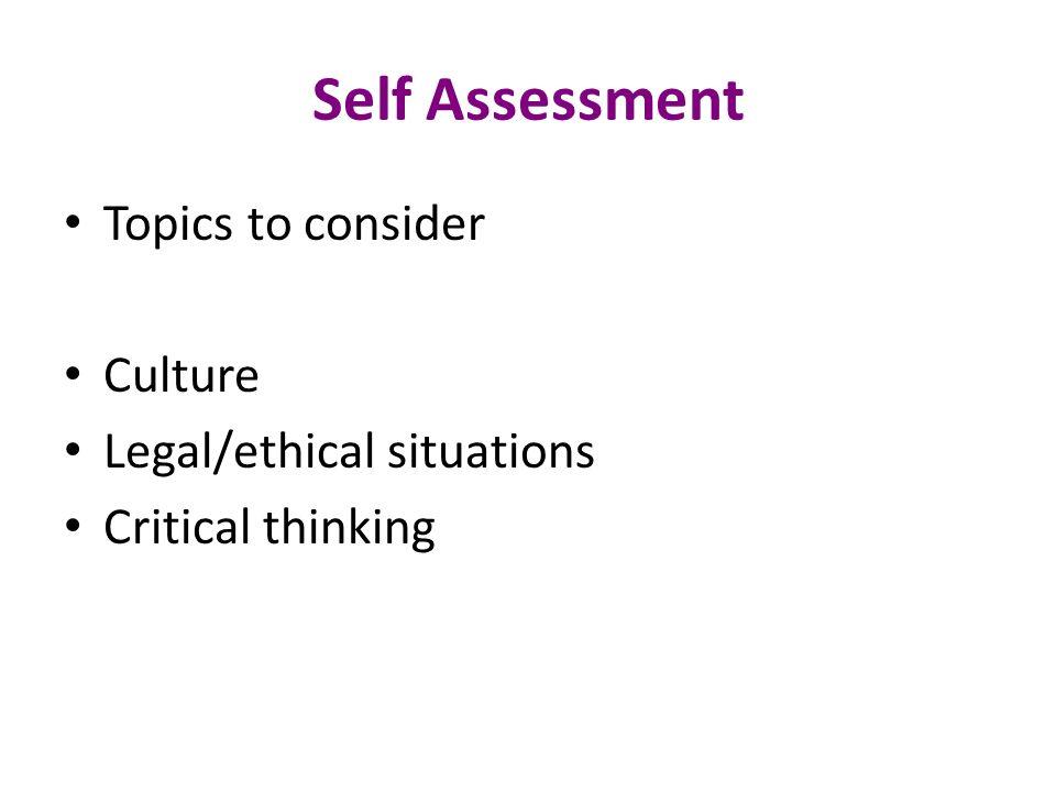 Ethical self assessment essays