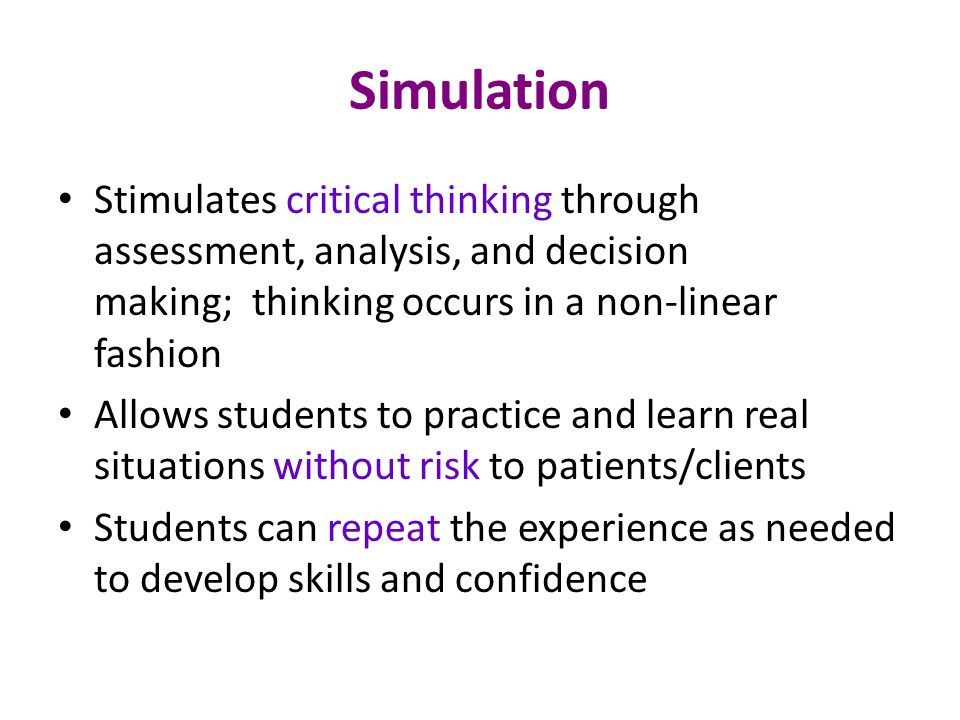 thinking critically and decision making simulation essay Critical thinking and decision-making simulation exercise free essay, term paper and book report critical thinking and decision-making exercise being able to think critically is a very important aspect that is required of the leaders and managers of today.