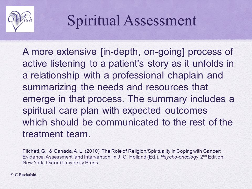 spiritual need assessment Results: eight questionnaires were found: patients spiritual needs assessment  scale (psnas), spiritual needs inventory (sni), spir.