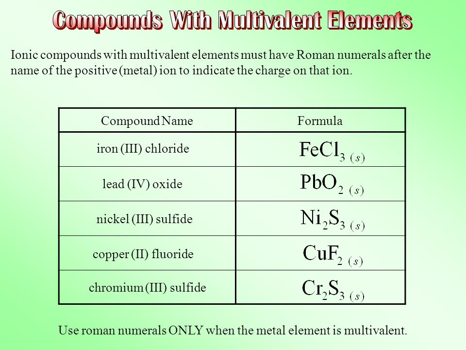 Compounds With Multivalent Elements
