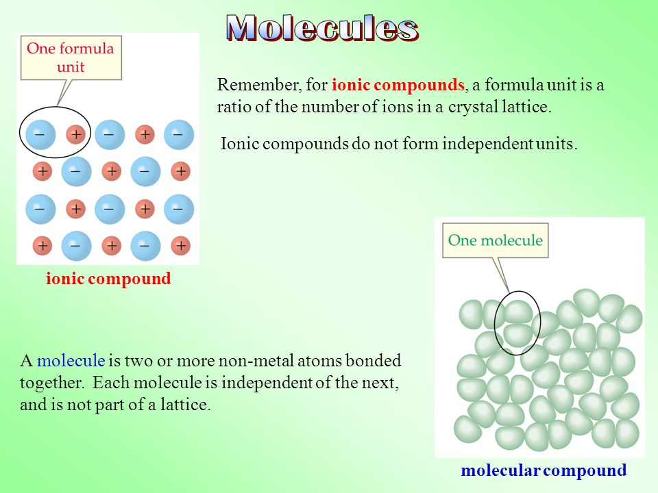Molecules Remember, for ionic compounds, a formula unit is a ratio of the number of ions in a crystal lattice.