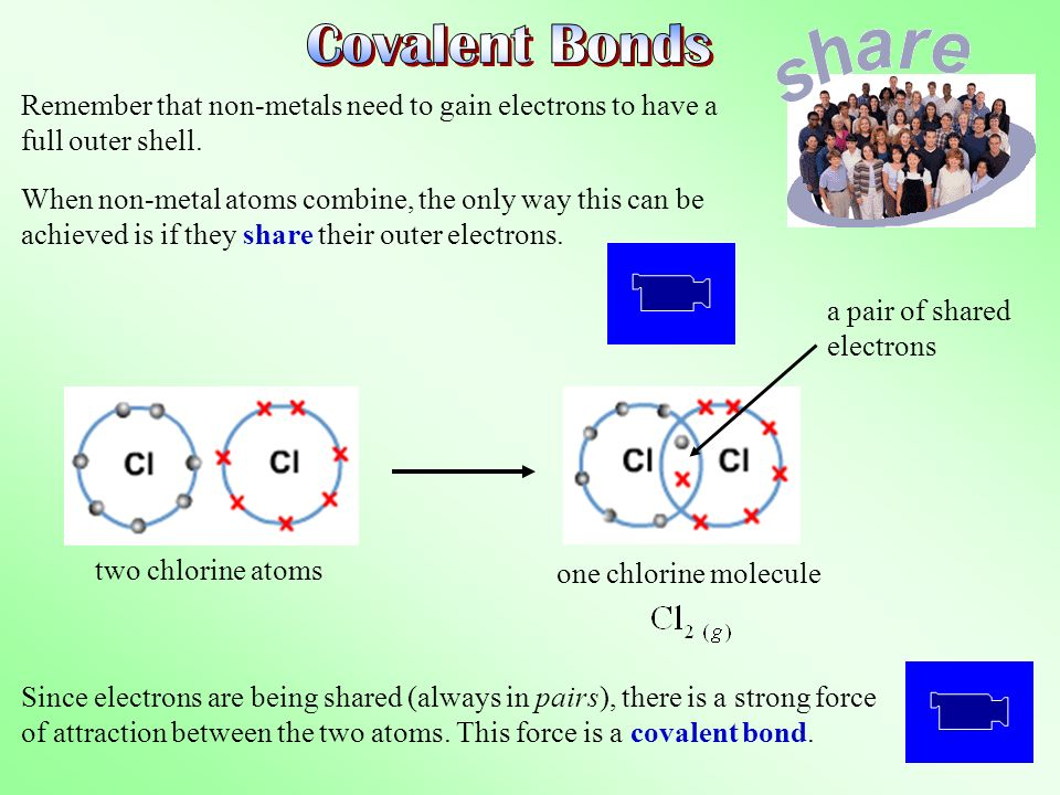 Covalent Bonds Remember that non-metals need to gain electrons to have a full outer shell.