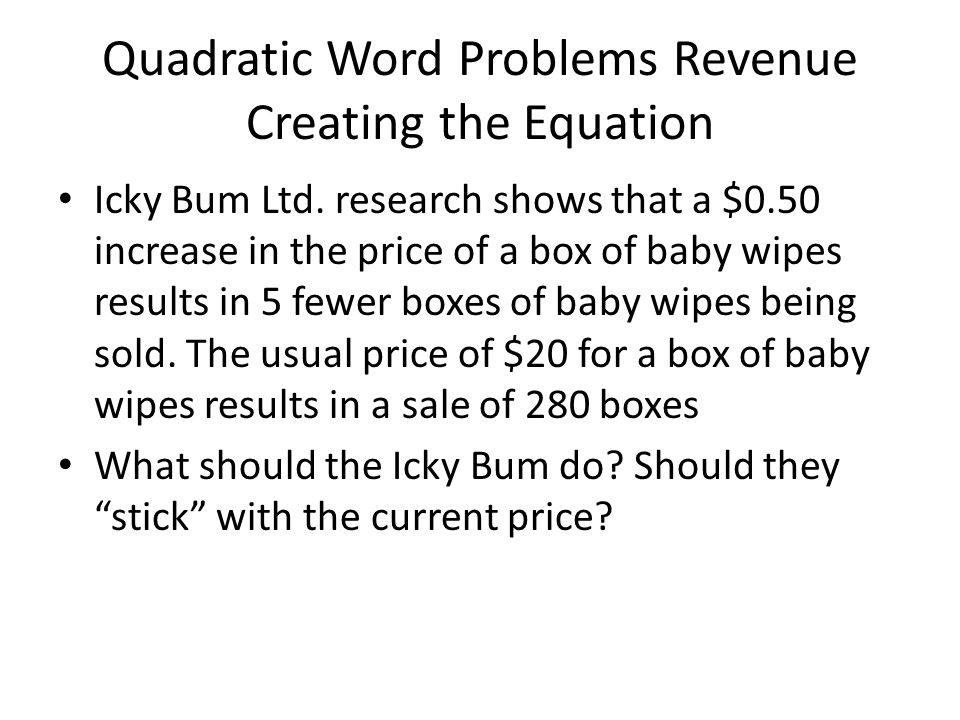 how to find revenue equation