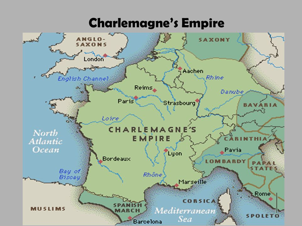 Charlemagne's Empire Divided into three sections by his grandsons (Treaty of Verdun) /Carolingian power collapsed (843).