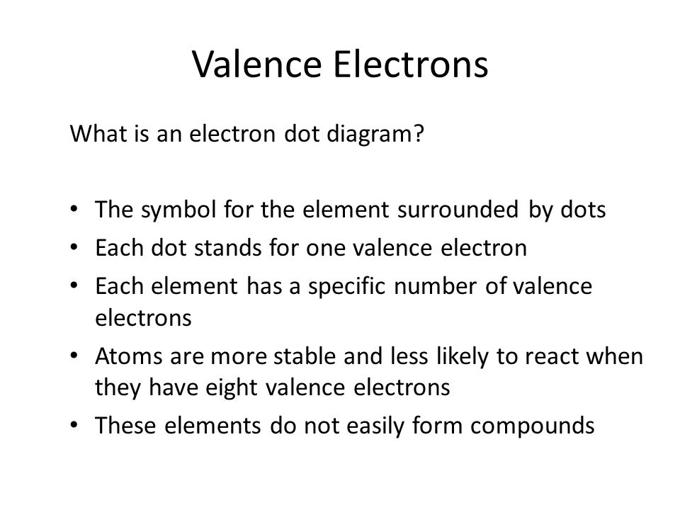 Valence Electrons What is an electron dot diagram