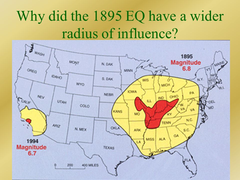 Why did the 1895 EQ have a wider radius of influence
