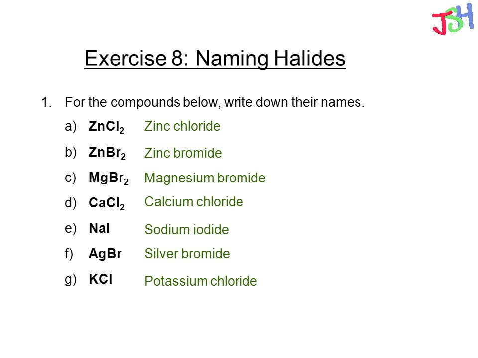 naming chemical compounds exercise 1 Chemical formula nomenclature practice:  give the names of the following compounds 1  nomenclature_practice_answersdoc.