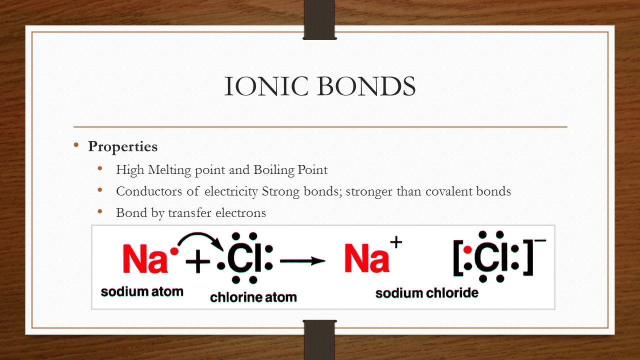 IONIC BONDS Properties High Melting point and Boiling Point