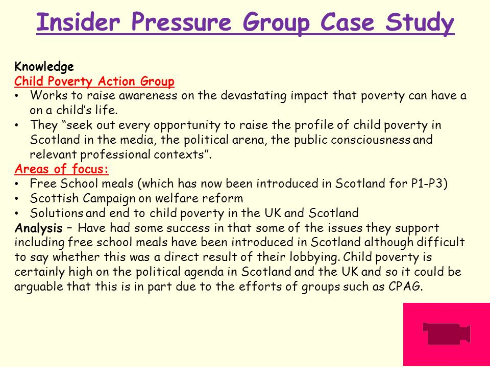 pressure group essays Pressure groups are made up of people concerned with the protection or advancement of a shared interest unlike political parties which have policies covering many issues, pressure groups wish to influence government only on specific policies.