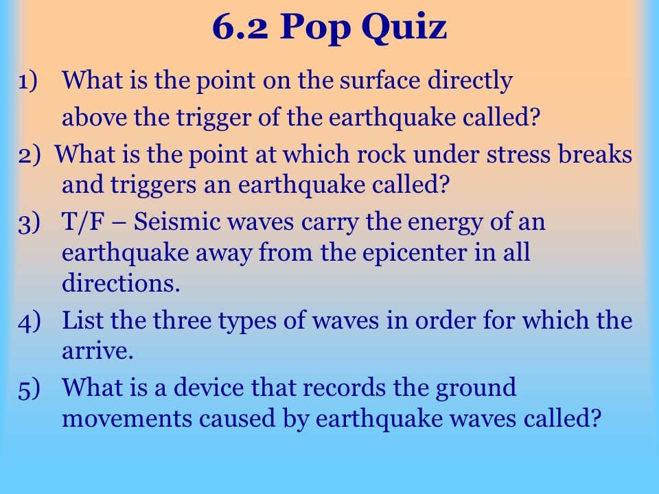 6.2 Pop Quiz What is the point on the surface directly