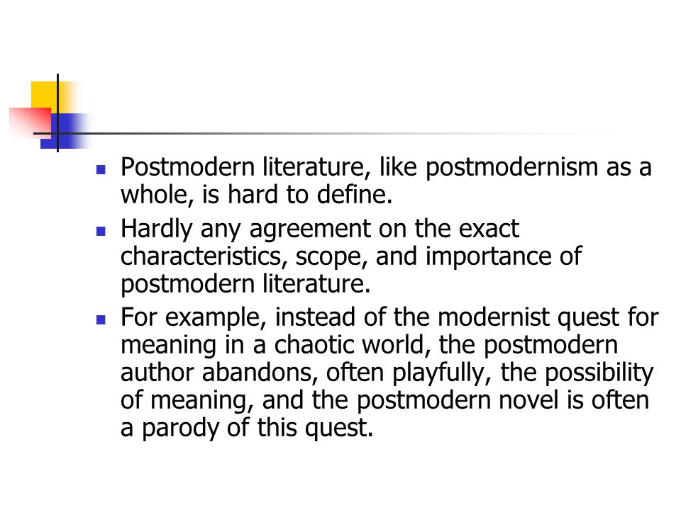 postmodern literature As the first electronic peer-reviewed journal in the humanities, postmodern culture college literature: a journal of critical literary studies feminist formations.