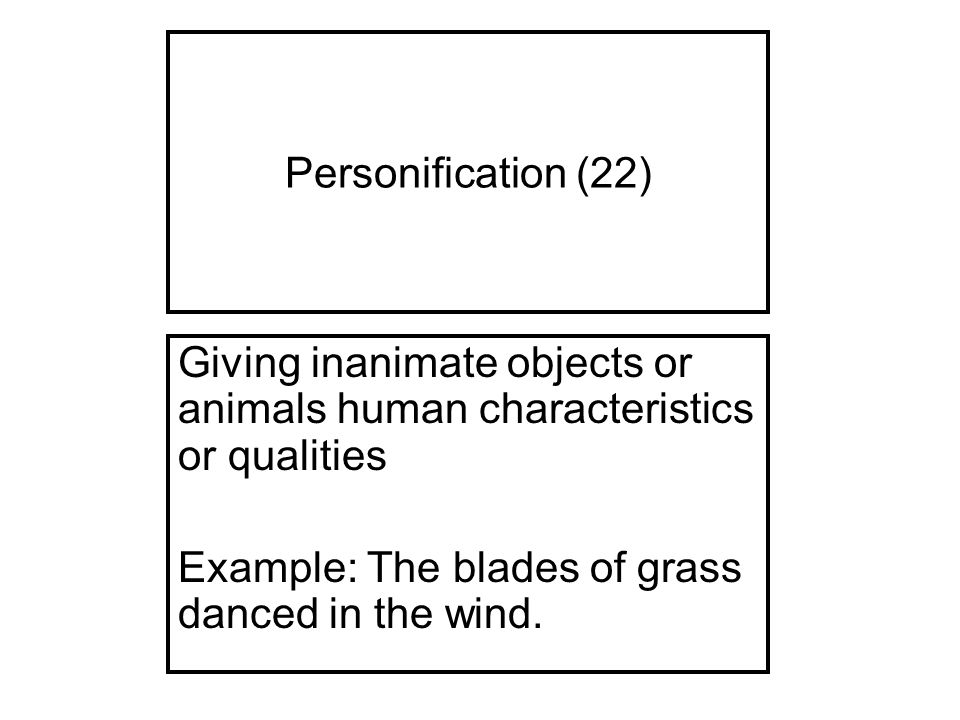 object personification essay Personification is the related attribution of human form and characteristics to and sacred objects to be made by human in the essay art and.