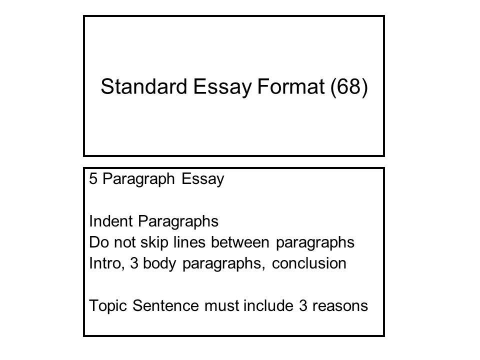 standard format for 5 paragraph essay A classic format for compositions is the five-paragraph essay standardized tests  usually include writing a five paragraph essay, which consists of an introductory.