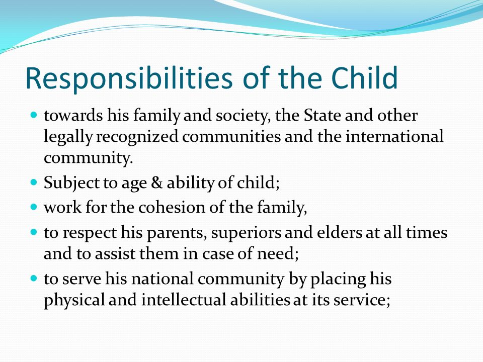 responsibilities of parents towards their children essay Chapter xi the special duties of childrentowards their parents (see also: the duties of parents for their children) richard baxter.