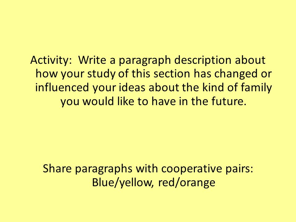 Activity: Write a paragraph description about how your study of this section has changed or influenced your ideas about the kind of family you would like to have in the future.