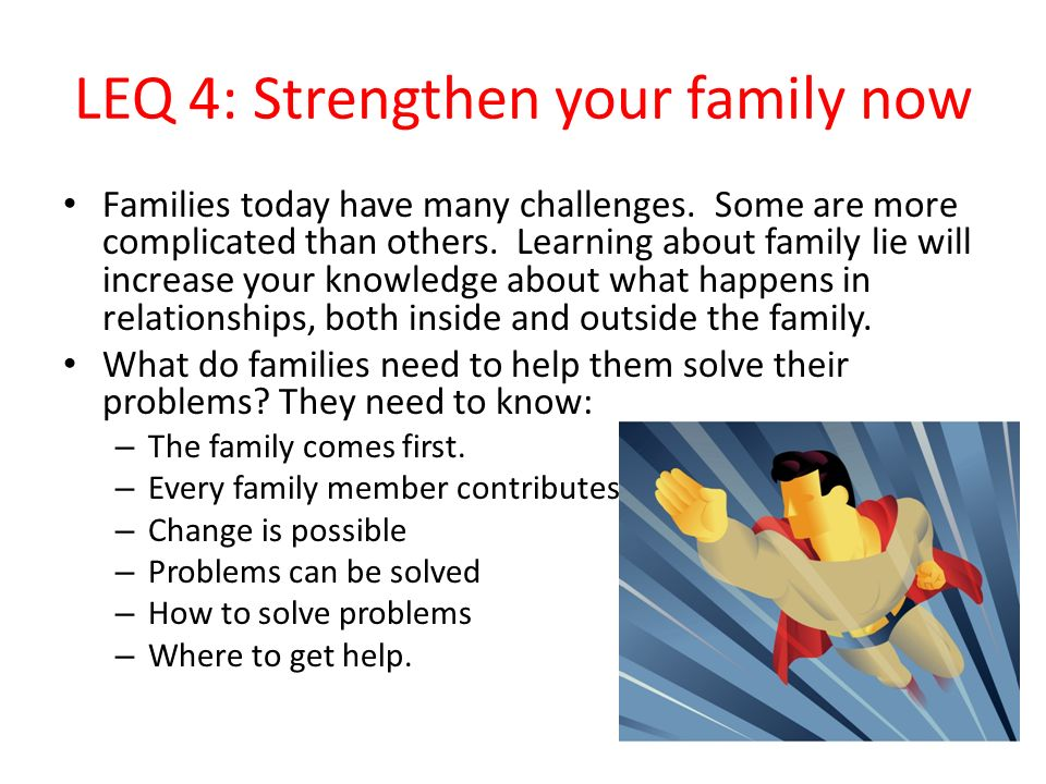 LEQ 4: Strengthen your family now