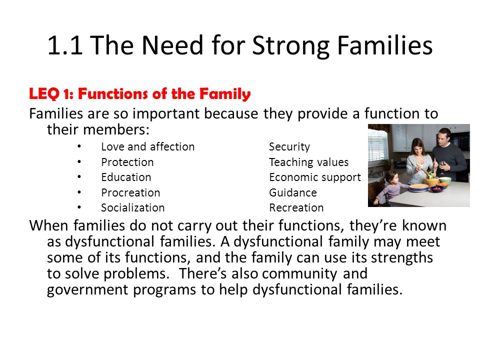 1.1 The Need for Strong Families