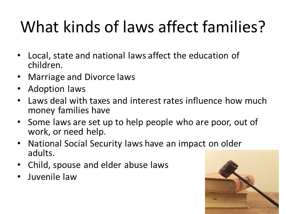 What kinds of laws affect families