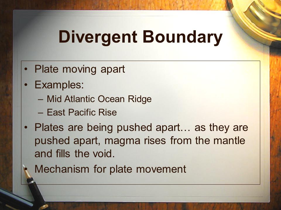 Divergent Boundary Plate moving apart Examples:
