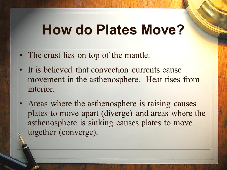 How do Plates Move The crust lies on top of the mantle.
