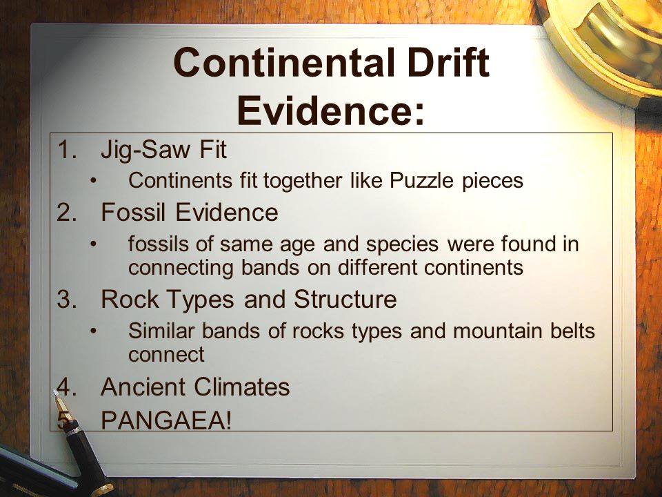 Continental Drift Evidence: