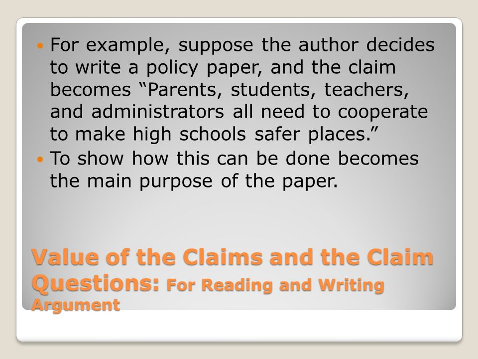 examples of claim of policy essay