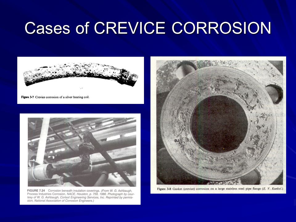 crevice corrosion Pitting and its closely related form, crevice corrosion, cause significant problems  across industry, yet don't receive the attention they deserve.