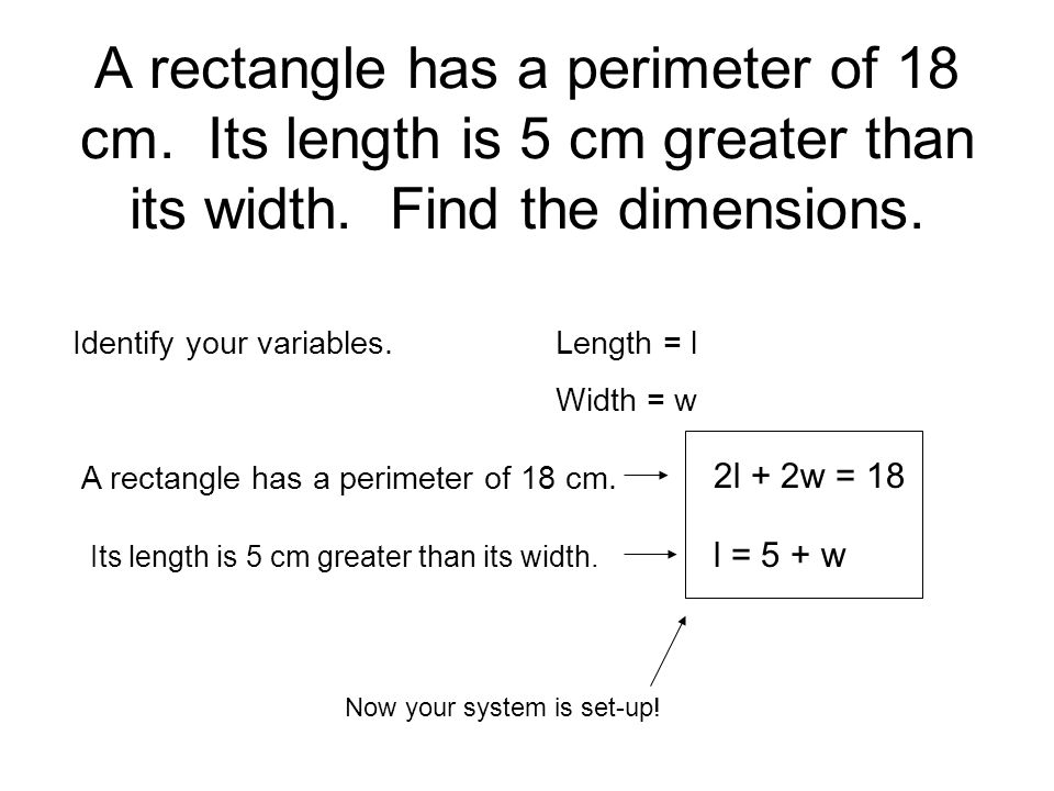 how to find the perimeter of a rectangle with variables