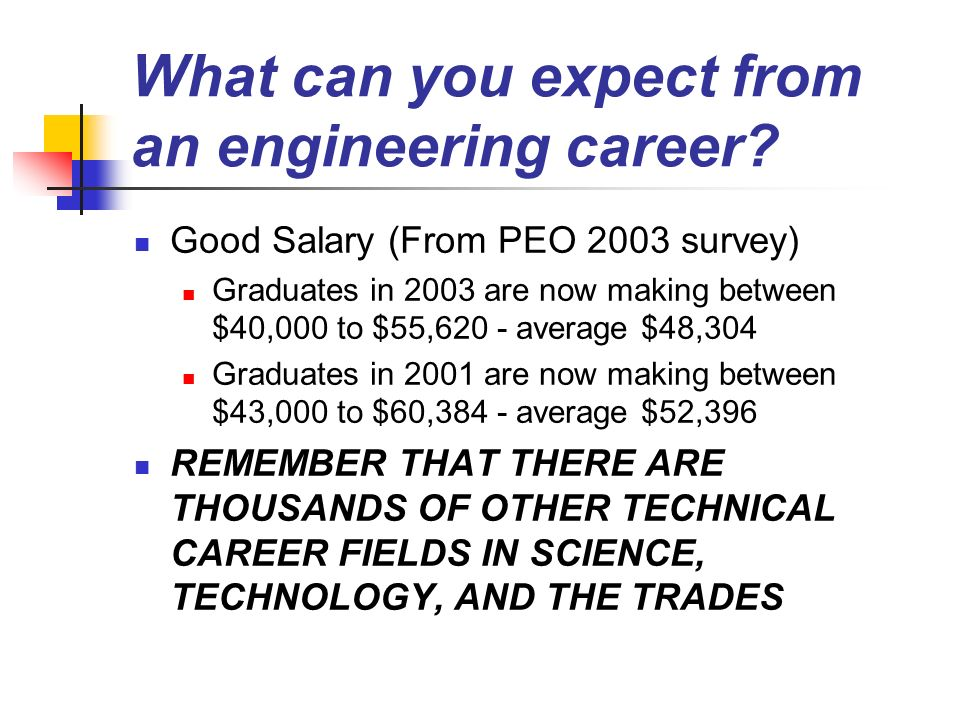 What can you expect from an engineering career