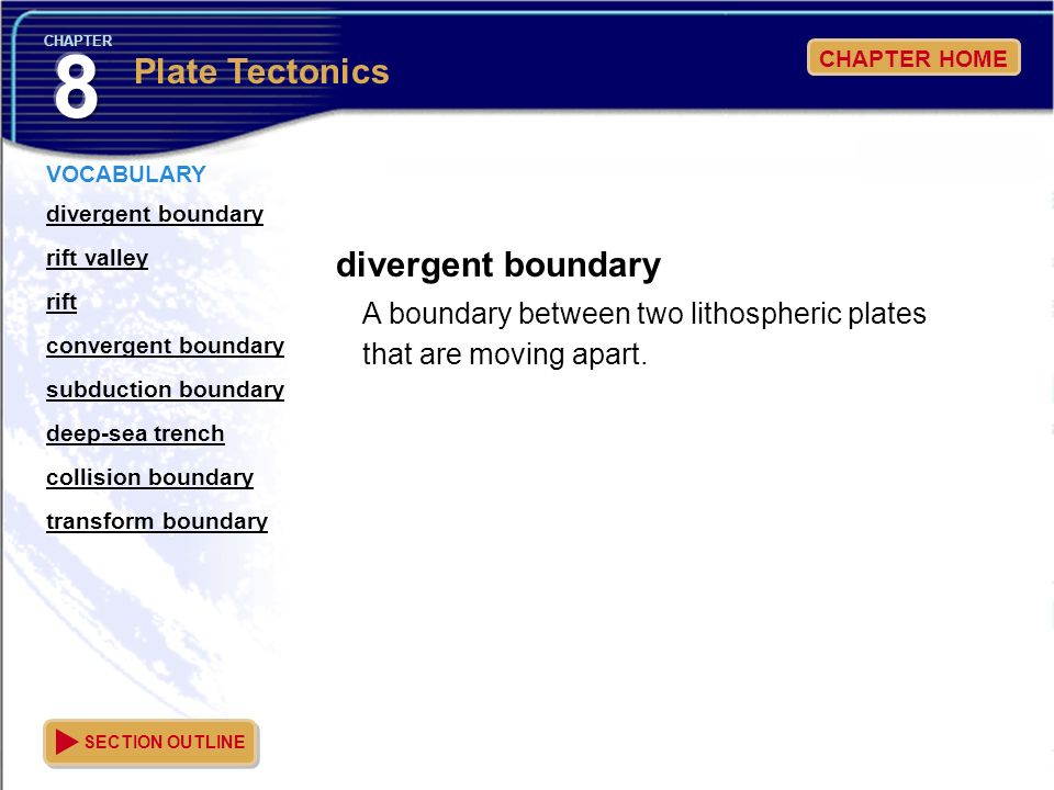8 Plate Tectonics divergent boundary